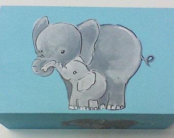 Hand painted,keepsake box,aqua,grey,elephants,baby's memory box,personalized,personalized gift,children's box,kids keepsake box,baby gift