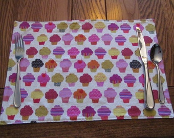Cupcake Placemats, Reversible Placemats, Kids Placemats