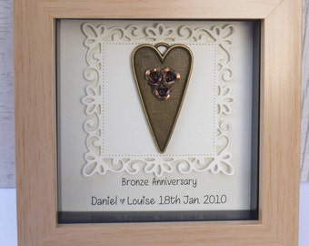 8th Bronze wedding anniversary,8th anniversary gift,bronze wedding gift,19th anniversary gift,8 year anniversary,personalised frame handmade