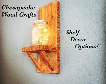 Small Rustic Shelf, Reclaimed wood shelf, Farmhouse Shelf, Hanging shelves, Rustic home decor, mason jar holder, small shelf, simple shelf