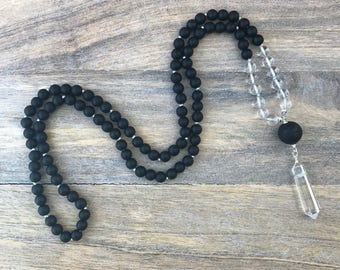 Black Obsidian Mala Necklace / 108 Mala Beads / Mens Mala Necklace / Mens Meditation Gift  / Buddhist Necklace / Meditation Necklace