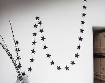 Black Paper Star Garland
