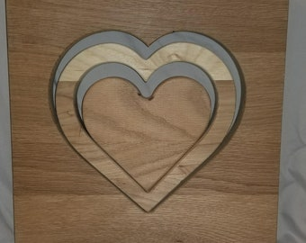 Combination of Handcrafted Wooden Heart Cutout, Outline, and Silhouette