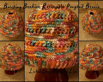 Bursting Beehive Reversible Ponytail Beanie