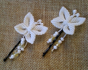 Butterfly bobby pins Flower girl First communion hair accessories Wedding hair clips Bridal hair pins set of two