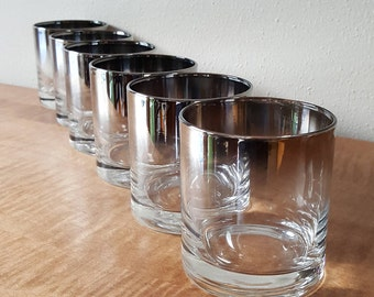 Silver Fade On the Rocks Glasses by Vitreon Queen's Lustreware  Retro Bar Glasses from 1960's Brooklyn NY USA et of 6