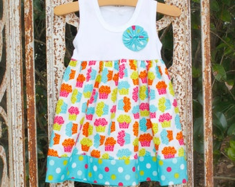 BIRTHDAY TANK DRESS girl's tank dress in cupcake & polka dot fabrics - Now available in larger sizes! sizes 6mo- 10