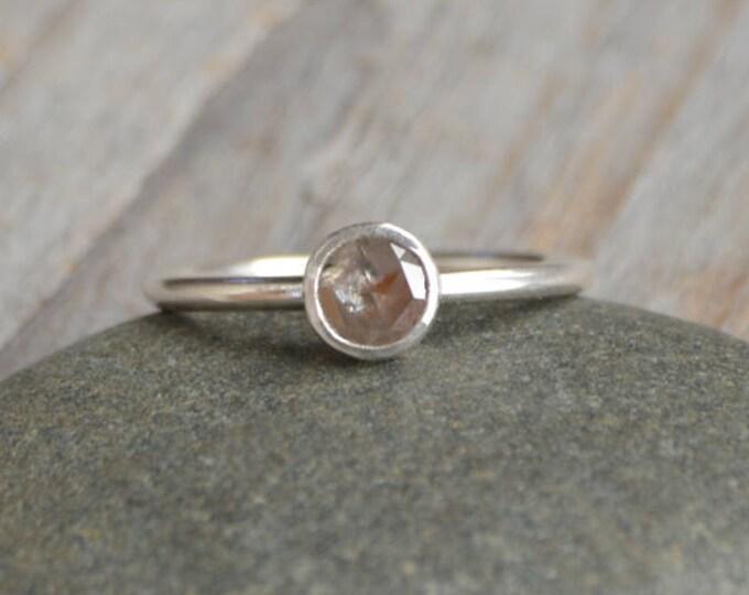 Rose Cut Diamond Engagement Ring, 0.4ct Diamond Stacking Ring Handmade In England