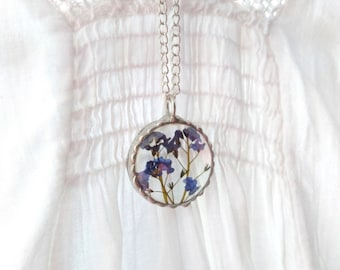 Forget - me - not necklace, real flower necklace, pressed flower jewelry, forget me not jewellery, forget me not,  gift ideas for mum
