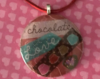 Love Chocolate!  Washer Pendant Necklace