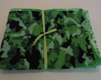 Baby Blanket Handmade Flannel Receiving blanket Crib size Camouflage 54 x 41/Ready to Ship