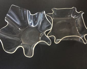 Two Lucite Vintage Modern Bowls- Abstract