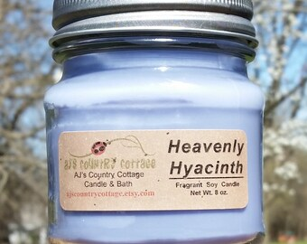 Heavenly HYACINTH SOY CANDLE - Flowers Candle - Floral Candle - Scented Candles - Spring Candles - Hyacinth Candle