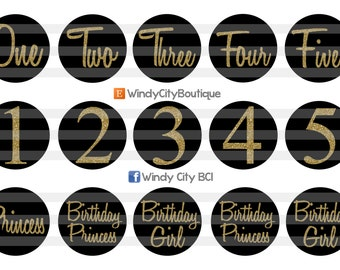 Gold and Black Birthday Bottle Cap Images