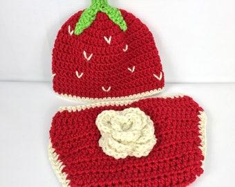 Baby strawberry hat and diaper cover, crochet, photo prop, newborn, red Halloween costume, newborn