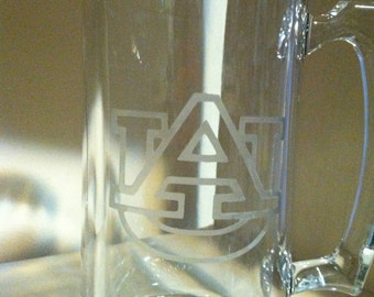 Glass Etched Beer Mug (Auburn)