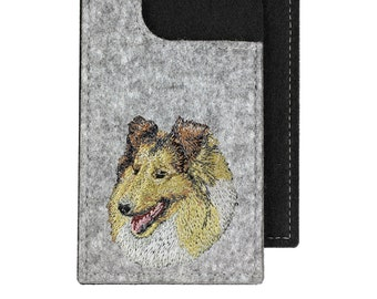 Collie - A felt phone case with an embroidered image of a dog.