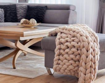 Giant blanket - giant knit blanket - chunky blanket - chunky merino wool blanket - handmade blanket - Merino throw - Throw - Giant throw