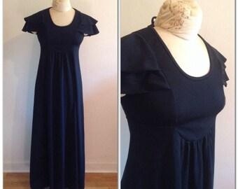 1970er Jahre schwarz flattern Ärmel Maxi Kleid Vintage / / extra klein Sx 0-1-2 schwarze Mutterschaft Empire-Taille 70er Jahre
