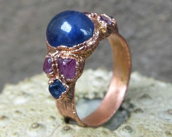 Blue sapphire copper ring | Rough sapphire electroformed ring