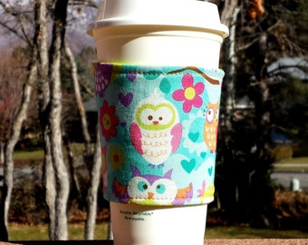 FREE SHIPPING UPGRADE with minimum -  Fabric coffee cozy / cup sleeve / coffee sleeve  - Owls on Teal