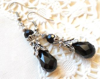 victorian earrings black dangle earrings black earrings vintage style black earrings black jewelry crystal earrings victorian inspired