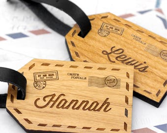 Custom Name Luggage Tags, Wooden Personalized Luggage Tag, Airmail Postcard Travel Gift, Set Of Two Personalised Wooden Couples Luggage Tags