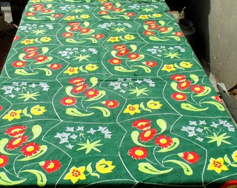 50s / 60s barkcloth, large quantity mid century modern abstract floral on green