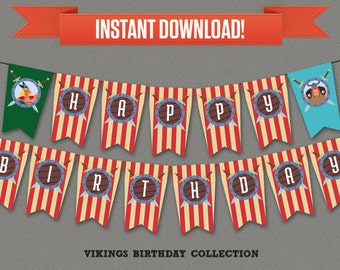 Vikings Party Printable Birthday Banner with Spacers - Editable PDF file - Print at home