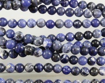Sodalite, 6mm, Rounds, Blue Beads. Sku W10891