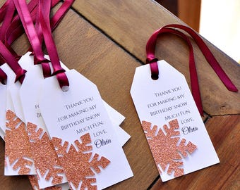 Snowflake Thank You Tags. Made in 2-5 Business Days. Winter Wonderland Party Supplies in Rose Gold. Personalized Thank You Tags. 10CT.
