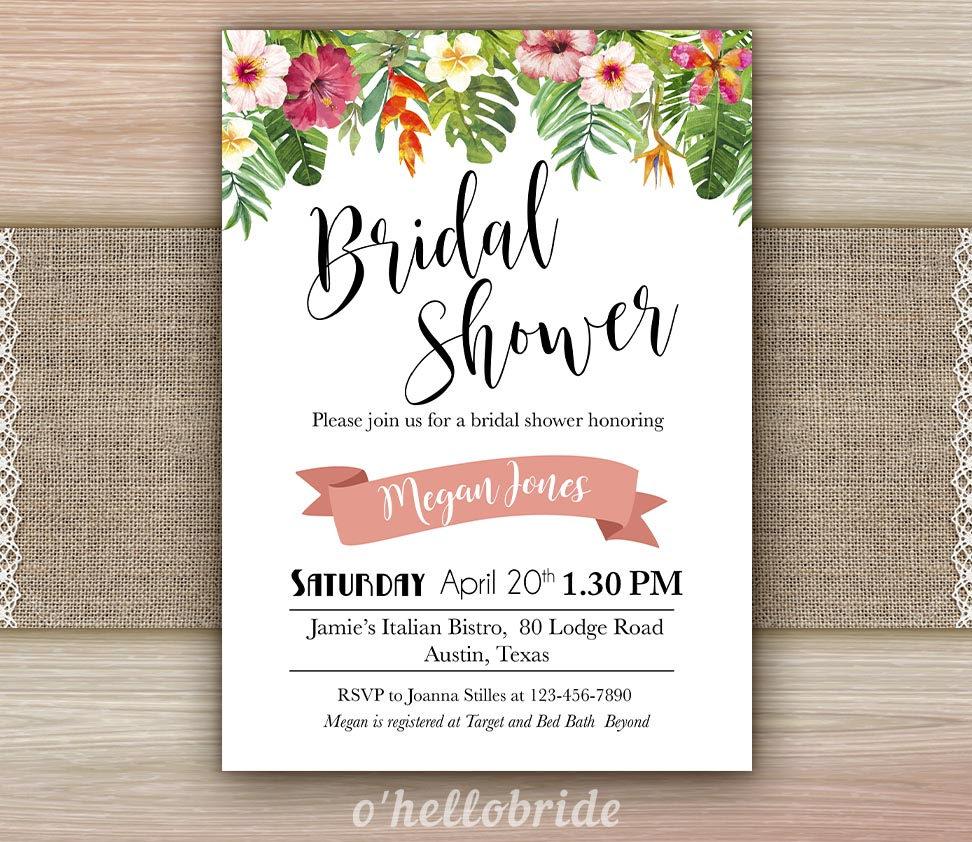 Printable Tropical Bridal Shower Invitation Cards Tropical