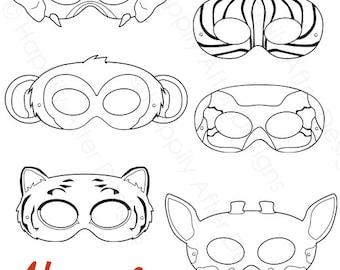 Adventurer Printable Masks sly fox cow monkey girls masks