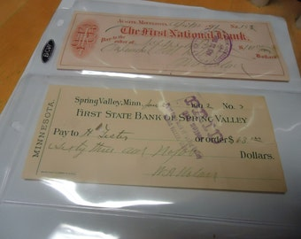 Vintage 1902 First State Bank of Spring Valley cashed check in plastic, collectable, paper, Spring Valley, Minn