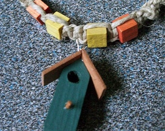 Wooden Birdhouse Necklace