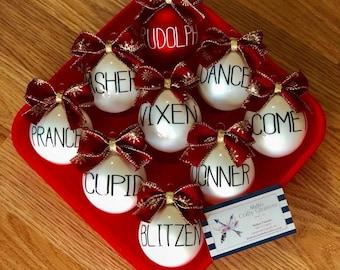 Rae Dunn Inspired Reindeer Christmas Glass Ornaments