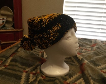 Black and Gold Knit Stocking Cap