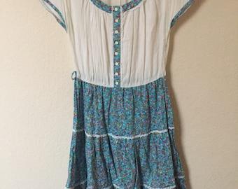Folk style 70s pheasant boho dress