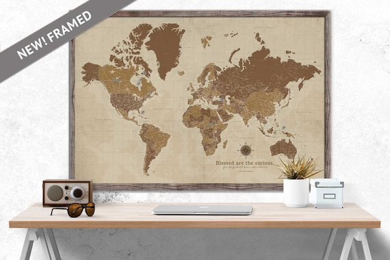 Custom world map large map sepia framed push pin map gumiabroncs