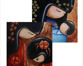 Japanese Kokeshi Doll Pack of 2 Greetings Cards - 'Mother and Child' and 'Mother and Baby' - Original Art large blank cards