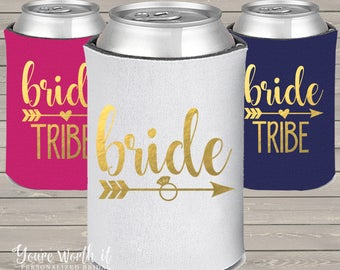 BRIDE coolie for bride tribe set of coolies - bachelorette party, beverage insulator you choose quantities and glitter or foil