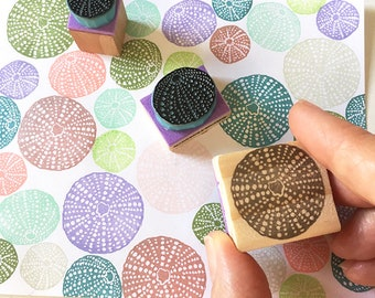 Sea Urchin Shells Rubber Stamps, hand Carved Rubber Stamps, Beach Decor, Beach Style, Summer Design