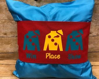 Red Jockey Silk pillow wrap, Derby pillow wrap, Kentucky Derby decor, Win Place Show