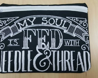 Chalkboard Zipper Bag Embroidered with  a Quote, Farmhouse Embroidered Bag, Free US Shipping