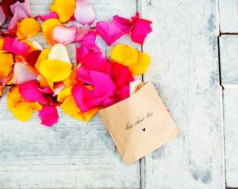 Wedding Petal Toss Bag - Kraft Paper -Kiss Cheer Toss - Rose Petal Toss - 20 Kraft Bags