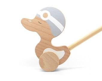 Duck Push Toy - Wooden Duck - Duck Toy - Wooden Kids Toy - Push Toy Duck - Wood Toddler Toy - Wooden Duck Push Toy