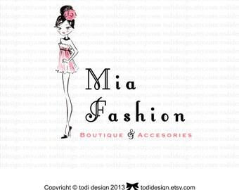 SALE Mia Fashion  Character Illustrated Premade Logo design- Fashion Boutique