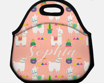 Llama lunchbox, Llama lunch box, Llama lunch tote, Personalized lunch box, Children's lunchbox, Kids lunchbox, Insulated lunch bag, Llama