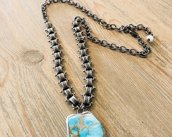 turquoise pendant necklace-layering-soldered turquoise - necklace-boho jewelry