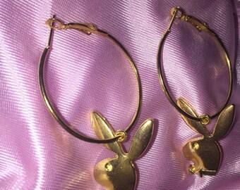 Playboy Bunny Faux Gold Mini Hoop Earrings 70s 90s y2k style